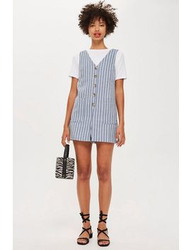 Linen Stripe Romper Playsuit by Topshop