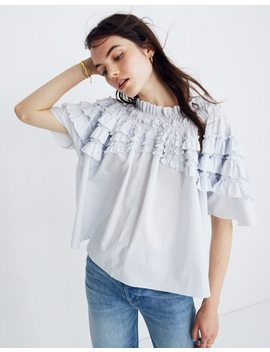 Madewell X Karen Walker® Striped Ruffle Top by Madewell