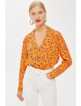 Petite Leopard Print Pj Blouse by Topshop