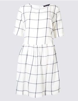Pure Cotton Checked Drop Waist Dress by Marks & Spencer