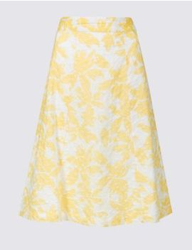 Pure Cotton Broderie A Line Midi Skirt by Marks & Spencer