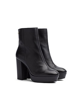 Leather Block Heeled Boot by Tommy Hilfiger