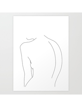 Minimal Line Drawing Of Women's Body   Alex Art Print by