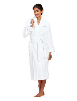 Women's Petite Long Sleeve Terry Midcalf Robe by Lands' End