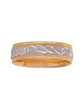 Mens 10 K Two Tone Gold 6mm Engraved Wedding Band by Modern Bride