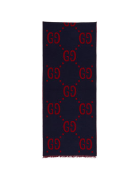 Blue & Red 'gucci Signature' Scarf by Gucci