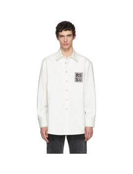 White Denim Logo Patch Shirt by Raf Simons
