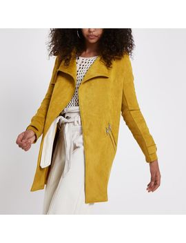 Yellow Faux Suedette Trench Coat by River Island