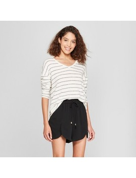 Women's Striped Long Sleeve Cozy Knit Top   A New Day&3153; White/Black by Shop All A New Day™