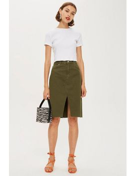 Khaki Denim Midi Skirt by Topshop