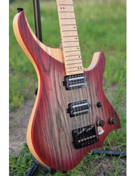 Flame Maple Neck Headless Electric Guitar Ash Wood Body Red Color Free Shipping by Nk