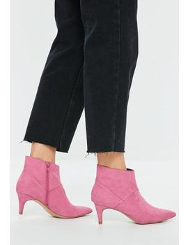 Pink Faux Suede Kitten Heeled Boots by Missguided