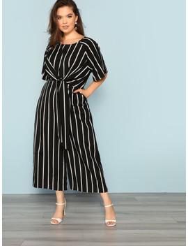 Plus Knot Front Striped Wide Leg Jumpsuit by Shein