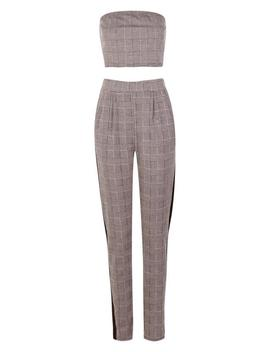 Skinny Crop Trouser And Bandeau Set by Boohoo