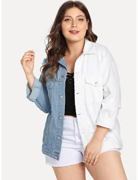Plus Two Tone Distressed Denim Jacket by Shein