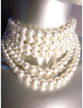 Classic Graduated 6 Strands Creme Pearls Layered Choker Necklace Earrings Set by Unbranded
