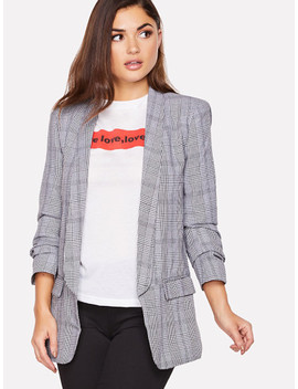 Shawl Collar Pocket Patched Plaid Blazer by Shein