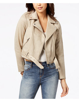 Juniors' Faux Suede Moto Jacket, Created For Macy's by American Rag