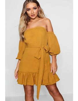 Off The Shoulder Ruffle Tie Waist Dress by Boohoo