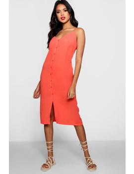 Button Front Woven Shift Midi Dress by Boohoo
