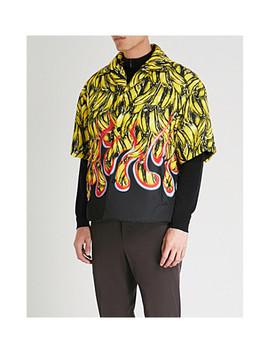 Banana Print Padded Gabardine Shell Shirt by Prada