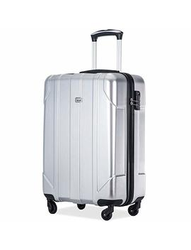 Merax P.E.T Luggage Light Weight Spinner Suitcase 20inch 24inch And 28 Inch Available (20 Carry On, Silver) by Merax