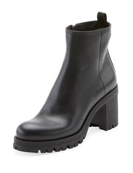 Leather Lug Sole Platform Bootie by Prada