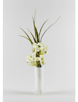 Hydrangeas In Tall Frosted Vase (45cm) by Matalan