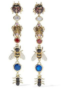 Gold Tone, Crystal And Enamel Earrings by Noir Jewelry