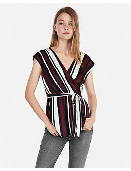 Striped Asymmetrical Hem Surplice Wrap Top by Express