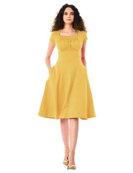 Ruched Bodice Cotton Knit Dress by Eshakti
