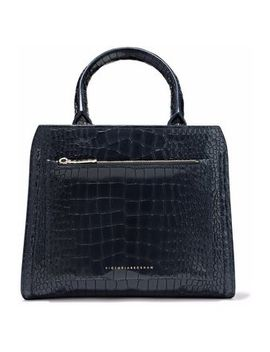 Croc Effect Leather Shoulder Bag by Victoria Beckham