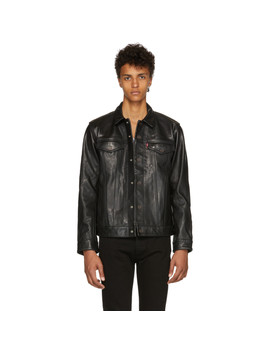 Black Leather Trucker Jacket by Levi's