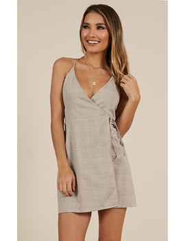 Calling You Dress In Grey Check by Showpo Fashion