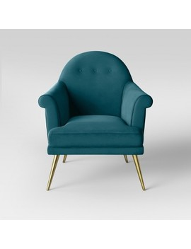 Myna Tufted Velvet Arm Chair With Brass Legs   Opalhouse™ by Shop Collections