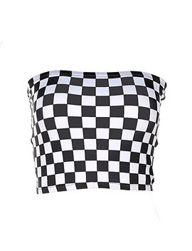 Malianna Women Black And White Plaid Sexy Strapless Tube Top by Malianna