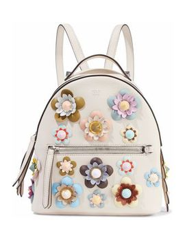 Zaino Mini Floral Appliquéd Leather Backpack by Fendi