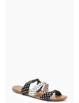 Polka Dot Mixed Bow Sliders by Boohoo
