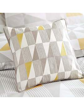 Skandi Geometric Yellow Square Cushion by Dunelm
