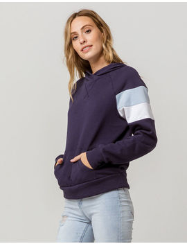 Full Tilt Arm Stripe Navy Womens Hoodie by Full Tilt