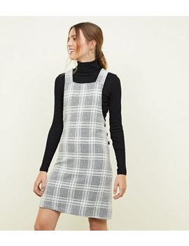 Light Grey Bouclé Check Button Side Pinny Dress by New Look