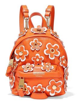 Floral Appliquéd Leather Backpack by Moschino