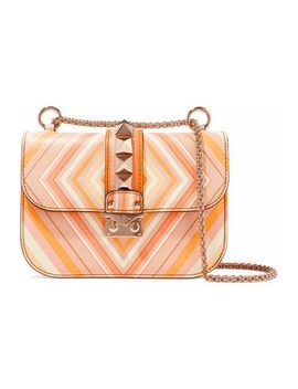 Glam Lock Printed Leather Shoulder Bag by Valentino