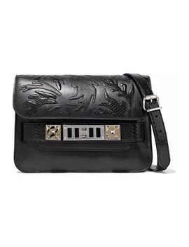 Ps11 Mini Python Appliquéd Leather Shoulder Bag by Proenza Schouler