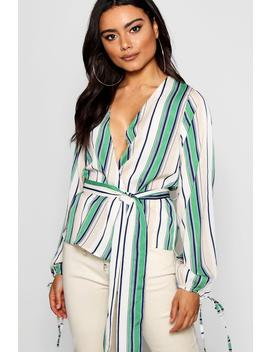 Stripe Print Wrap Blouse by Boohoo