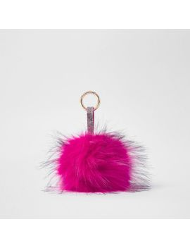 Bright Pink Large Faux Fur Pom Pom Keyring by River Island