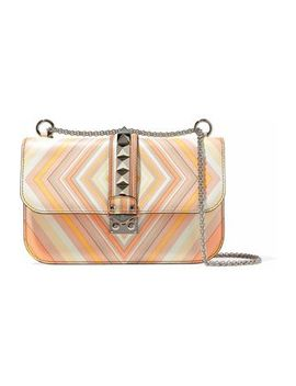 Rocklock Studded Printed Leather Shoulder Bag by Valentino