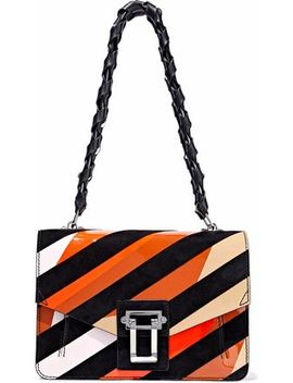 Hava Striped Suede And Patent Leather Shoulder Bag by Proenza Schouler