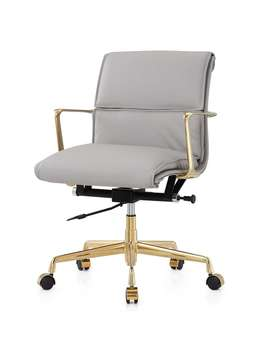 M347 Gold/Grey Italian Leather Swivel Office Chair by Generic