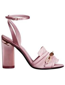 Link Detail Perspex Heel Satin Sandals by Burberry